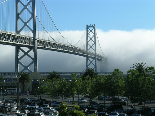 bay bridge engulfed in fog