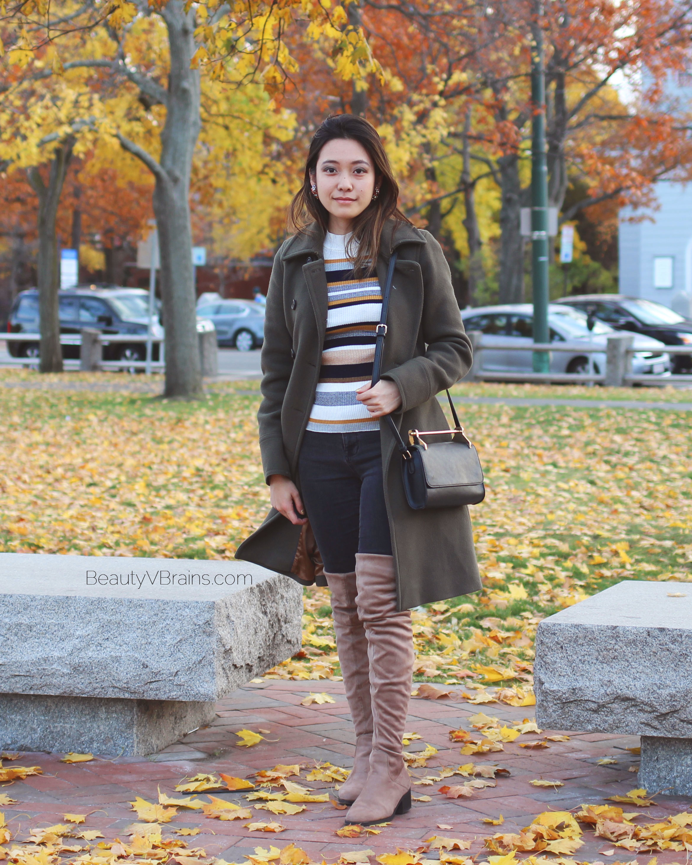 J Crew green wool trench coat and taupe over the knee boots