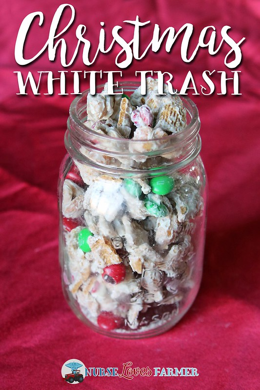 Christmas White Trash Recipe. It's an addictive, easy-to-make, no-bake Christmas treat! Just mix cereal, honey roasted peanuts and holiday M&Ms with melted white chocolate and you're set!