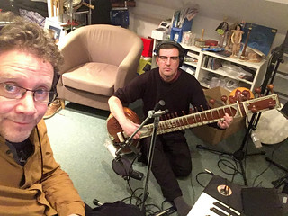 Chris Conway with sitarist Neil Donoghue