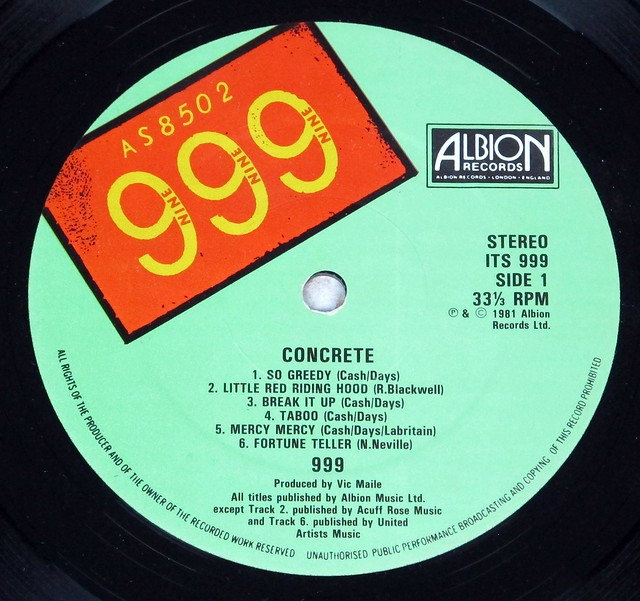"999 CONCRETE 12"" LP VINYL"