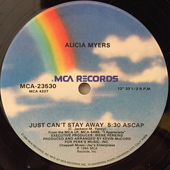 ALICIA MYERS:JUST CAN'T STAY AWAY(LABEL SIDE-A)