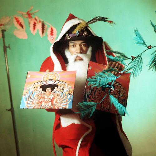 imi Hendrix dressed as Santa Claus, 1967.