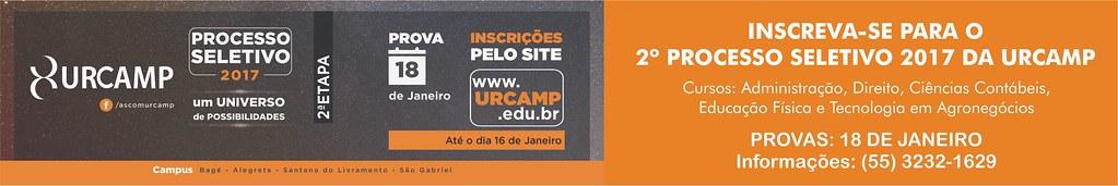 Anúncio 2º Processo Seletivo 2017 Urcamp