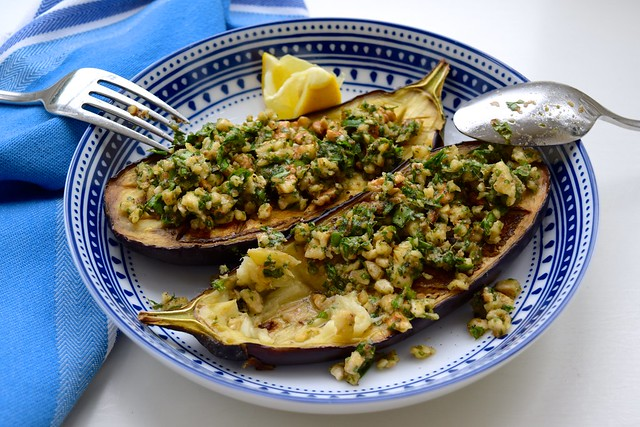 Lunchtime Roast Aubergine with Anchovy, Walnuts and Parsley | www.rachelphipps.com @rachelphipps