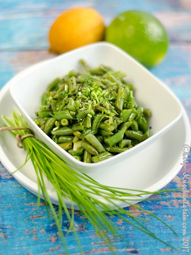 Shredded Green Beans with Lemon-Lime-Zest and Snipped Chives