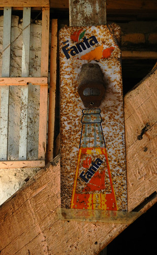 Rusty Fanta sign in a building San Sebastian, Mexico