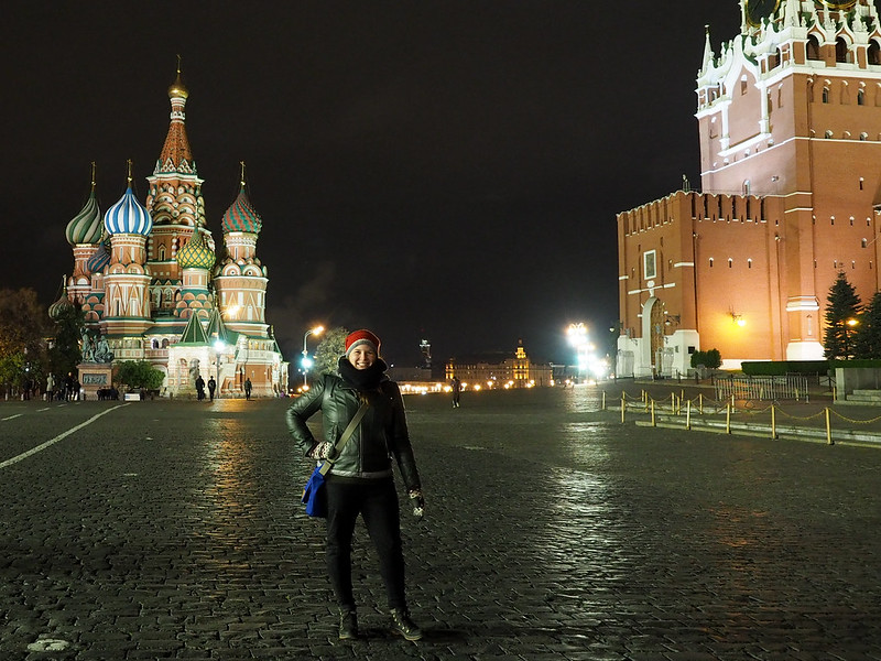 Amanda in Red Square at night