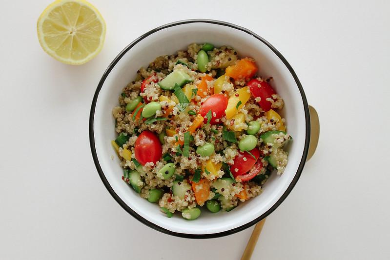 Garden Quinoa Salad + Garlic Dressing