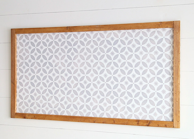 Gray and White Stenciled Wall Hanging