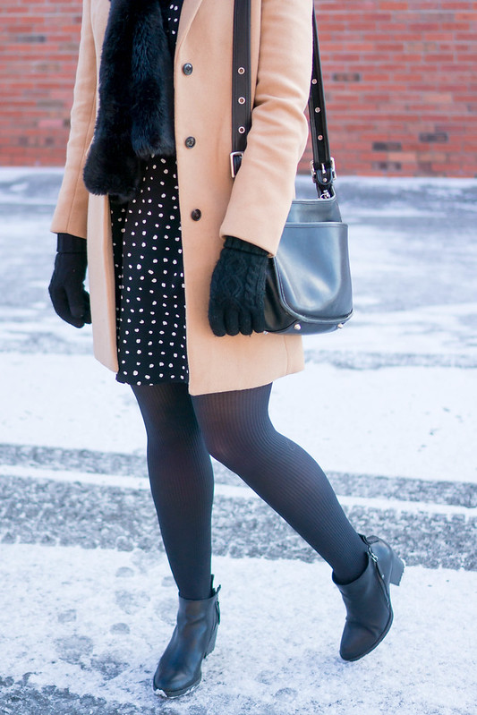 polka dot dress + black tights + black fur scarf + j.crew camel coat + black ankle boots; winter work outfit | Style On Target blog