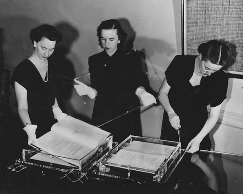 Photograph of National Archives Personnel Working on Installation of Documents on the Freedom Train