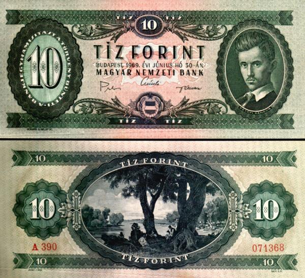 10 Forintov Maďarsko 1969, P168d