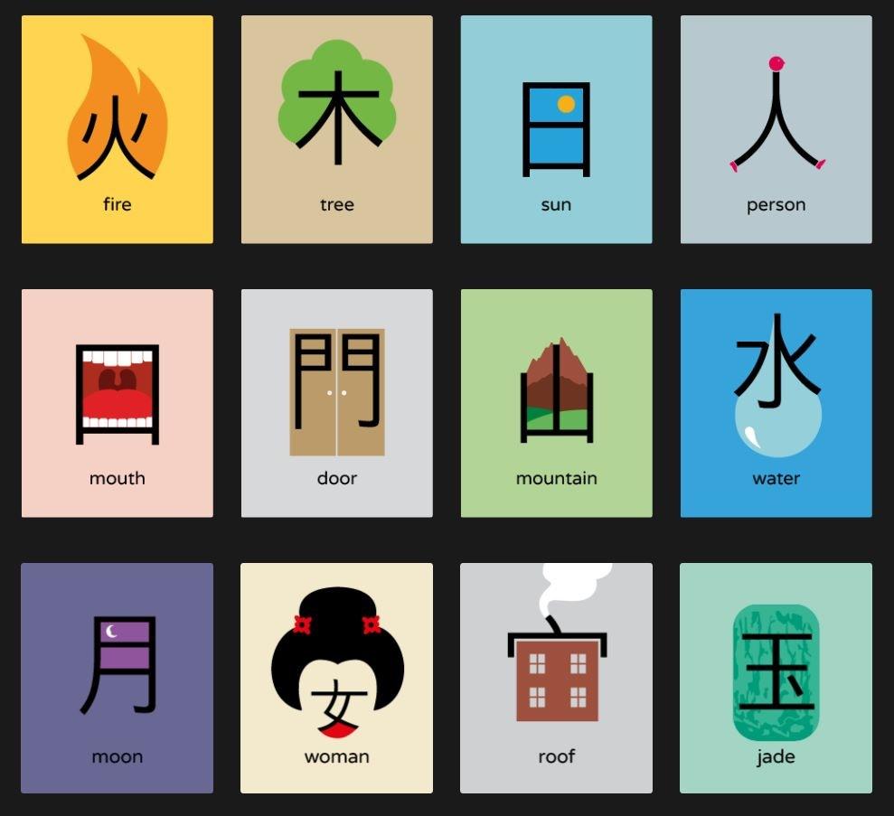 иероглифы с картинками для запоминания разнообразие окраски альбомов