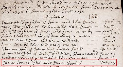 James C bapt 1772 Meld