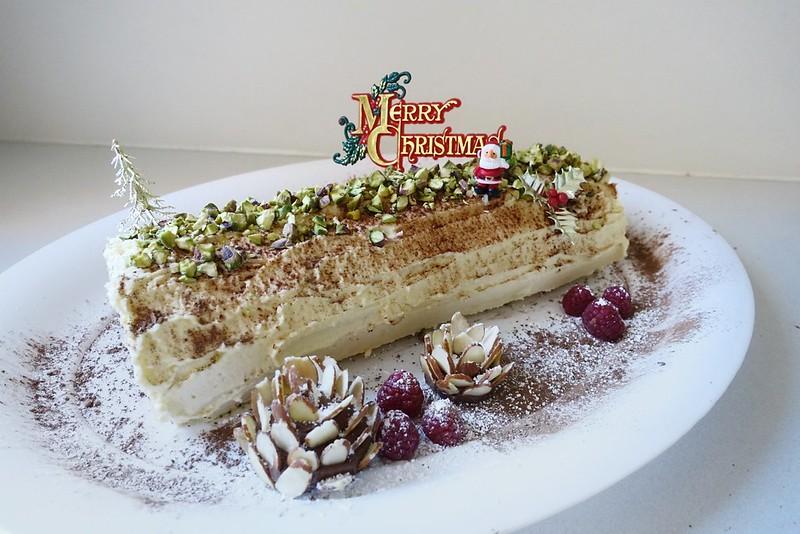Raspberry, Marscarpone & Pistachio Bûche de Noël