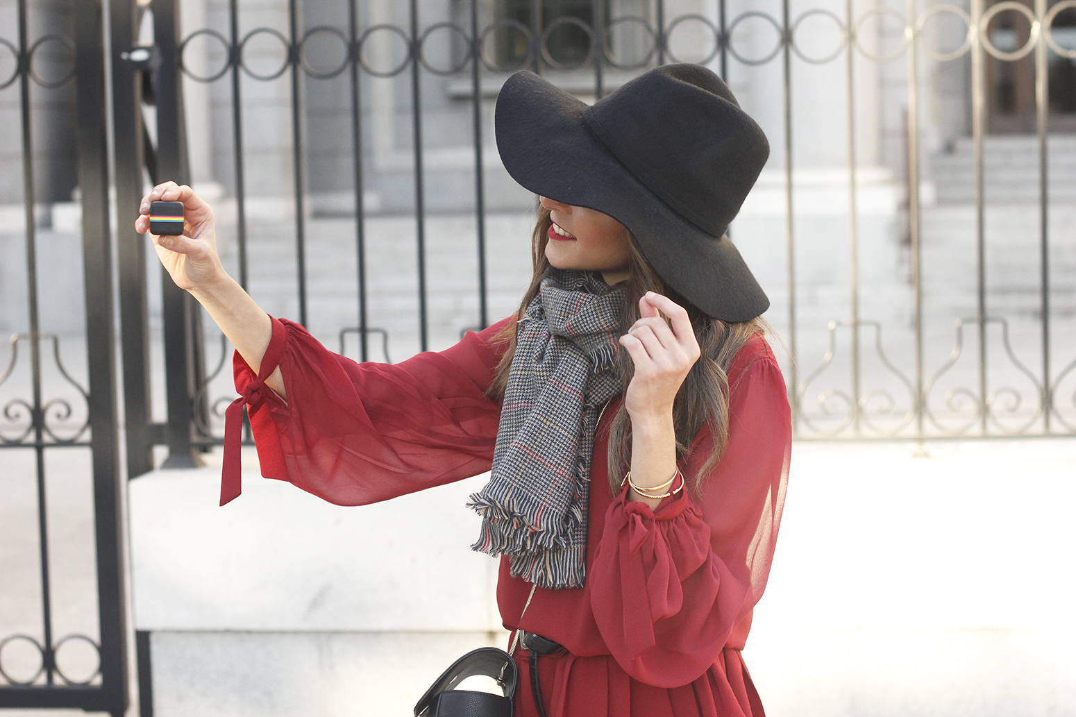 red dress black hat scarf over the knee boots Autumn essentials outfit style fashion fall08
