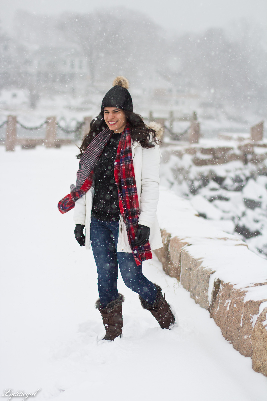 snow outfit, white parka, plaid scarf, pom hat.jpg