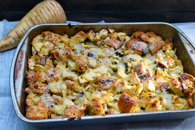 Savory Bread Pudding with Parsnips