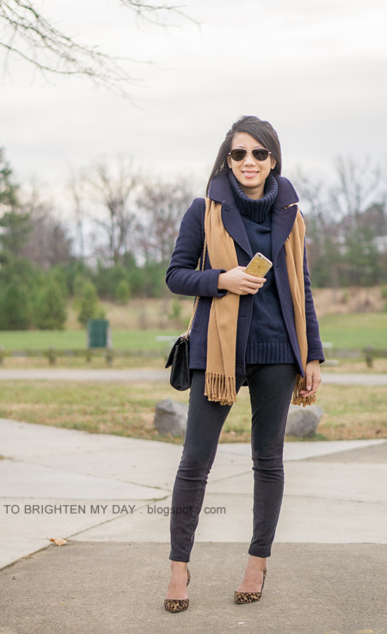 navy peacoat, camel scarf, navy cowlneck sweater, black skinny jeans, leopard pumps