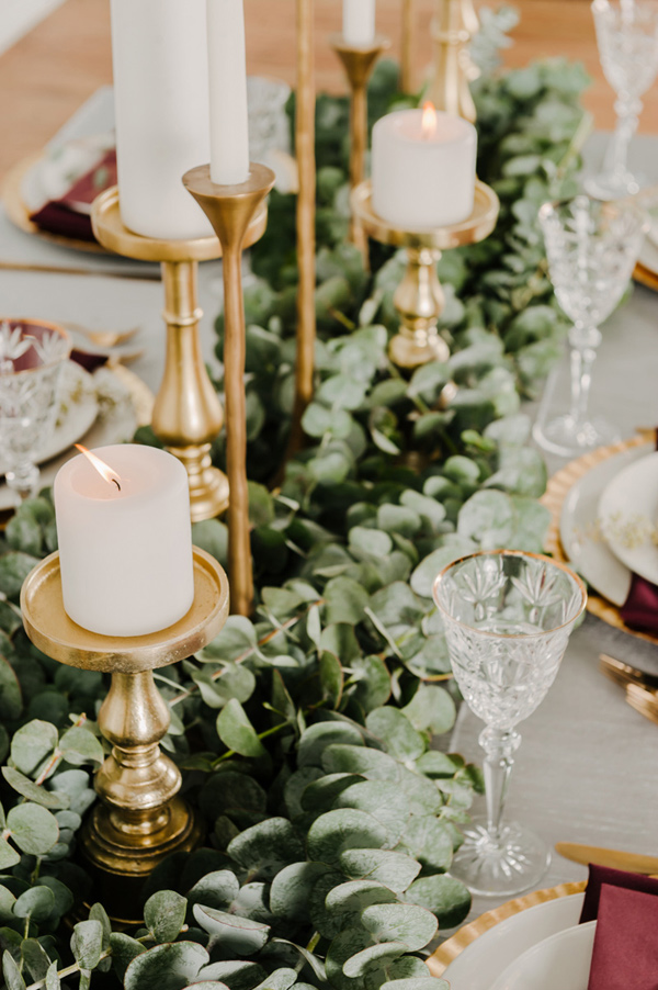 Candles and Greenery Centerpiece