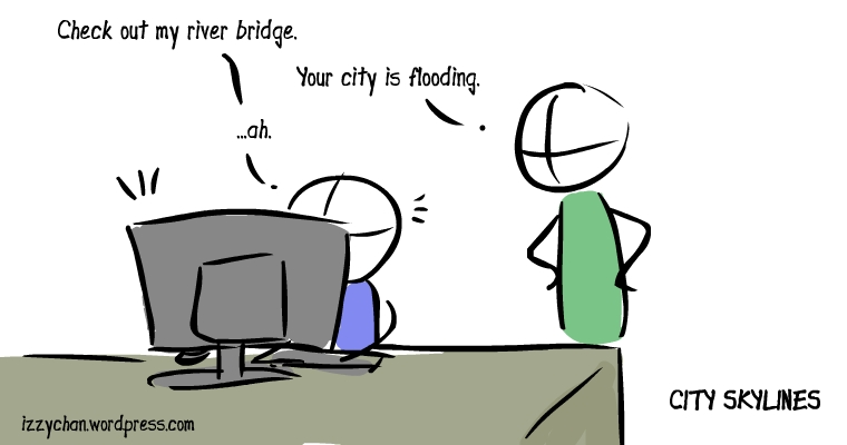 city skylines flooding town river bridge