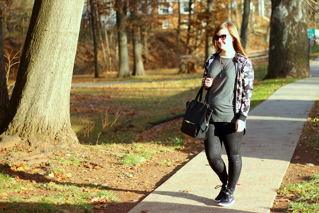 Glam sneakers, faux leather leggings, and floral bomber 5