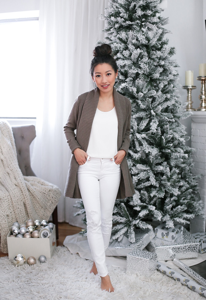 winter white jeans christmas lounge outfit extra petite