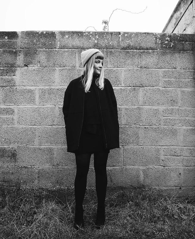 black wool raw edge coat cos minimal black monochrome fashion blog blogger outfit