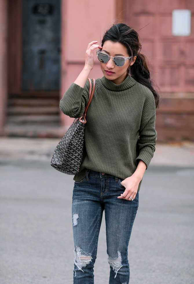 olive green sweater jeans winter outfit extra petite