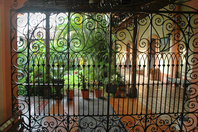 Courtyard of the Hotel La Merced in Colima, Mexico