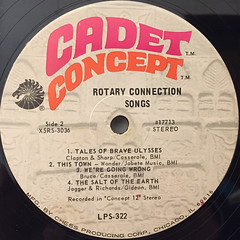 ROTARY CONNECTION:SONGS(LABEL SIDE-B)