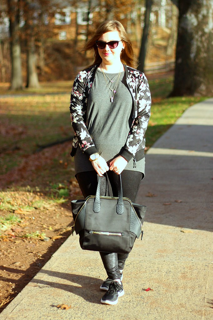 Glam sneakers, faux leather leggings, and floral bomber 2