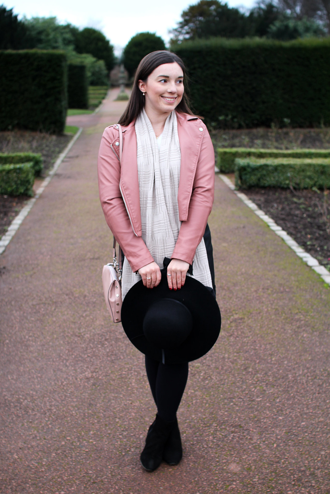fashion blogger outfit lifestyle UK coloured pink leather biker jacket