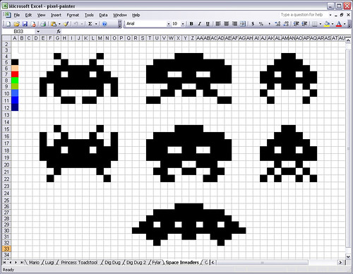 Space Invaders in an Excel Spreadsheet | by douglas
