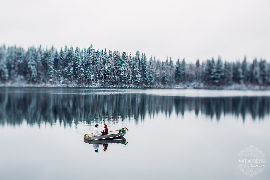 Winter Rowboat Engagement Session Northern British Columbia Photographers