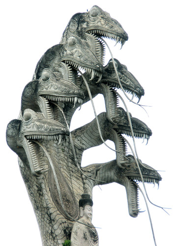 Statue of a multi-headed sea dragon/serpent, a creature called a Naga that is prevalent in North-east Thailand (Issan), Laos and Cambodia.