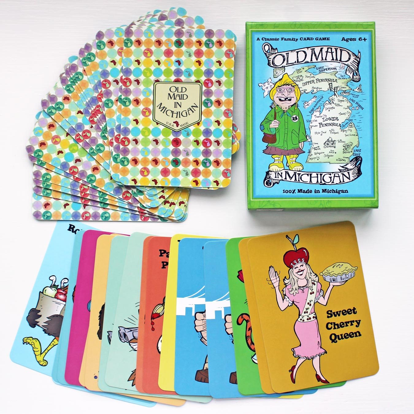 Old Maid in Michigan: A new twist on the classic card game! Featuring lovable characters that represent the state of Michigan. // 4 Fun Gift Ideas From Michigan Mittens  (via Wading in Big Shoes)