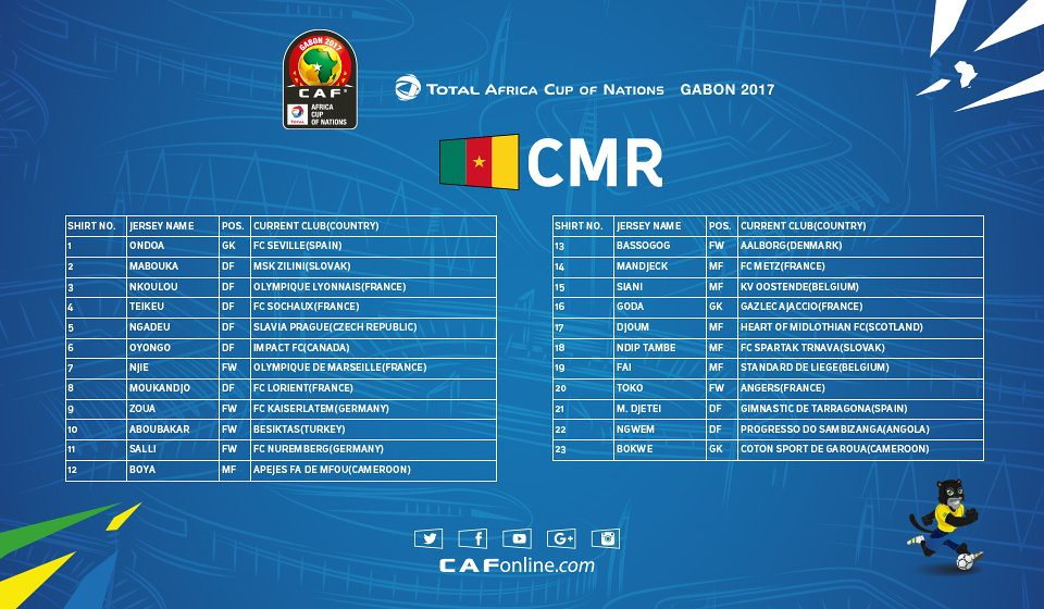 AFCON cameroon Squad