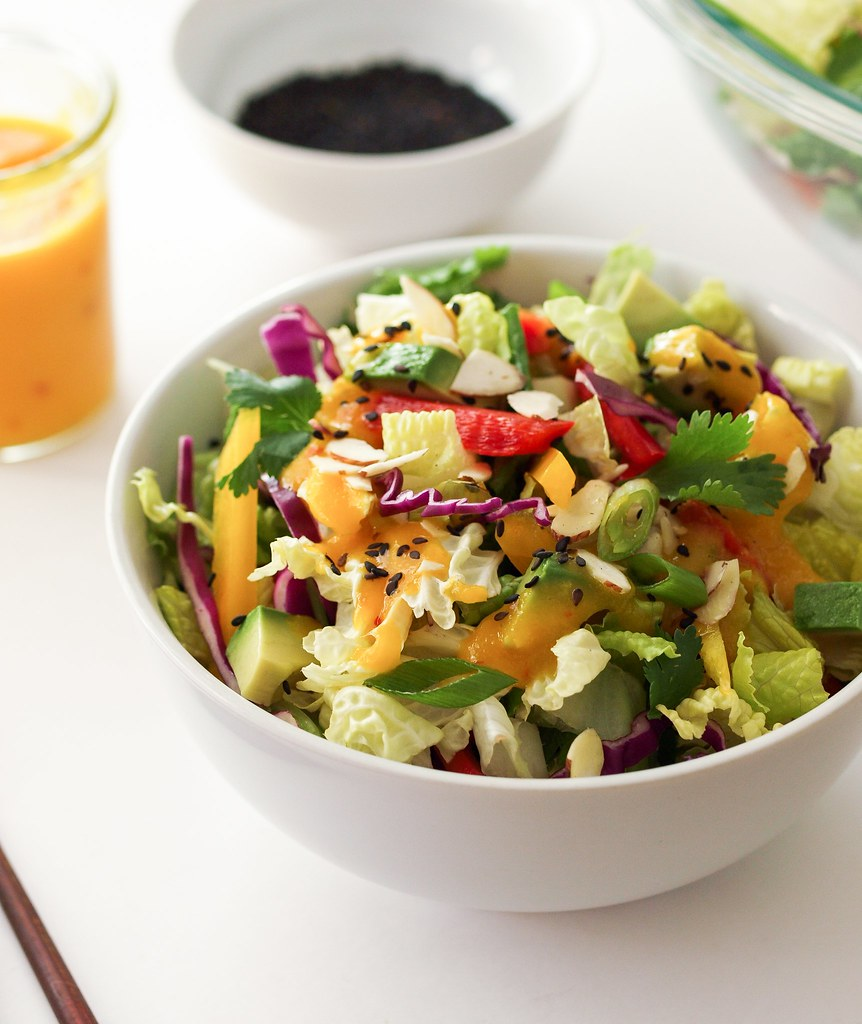 Asian Rainbow Salad Spicy Mango Dressing