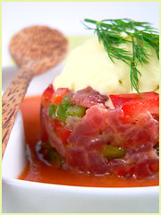 Spicy Tuna Tartare with Wasabi Ice Cream and Tomato Soup | by La tartine gourmande