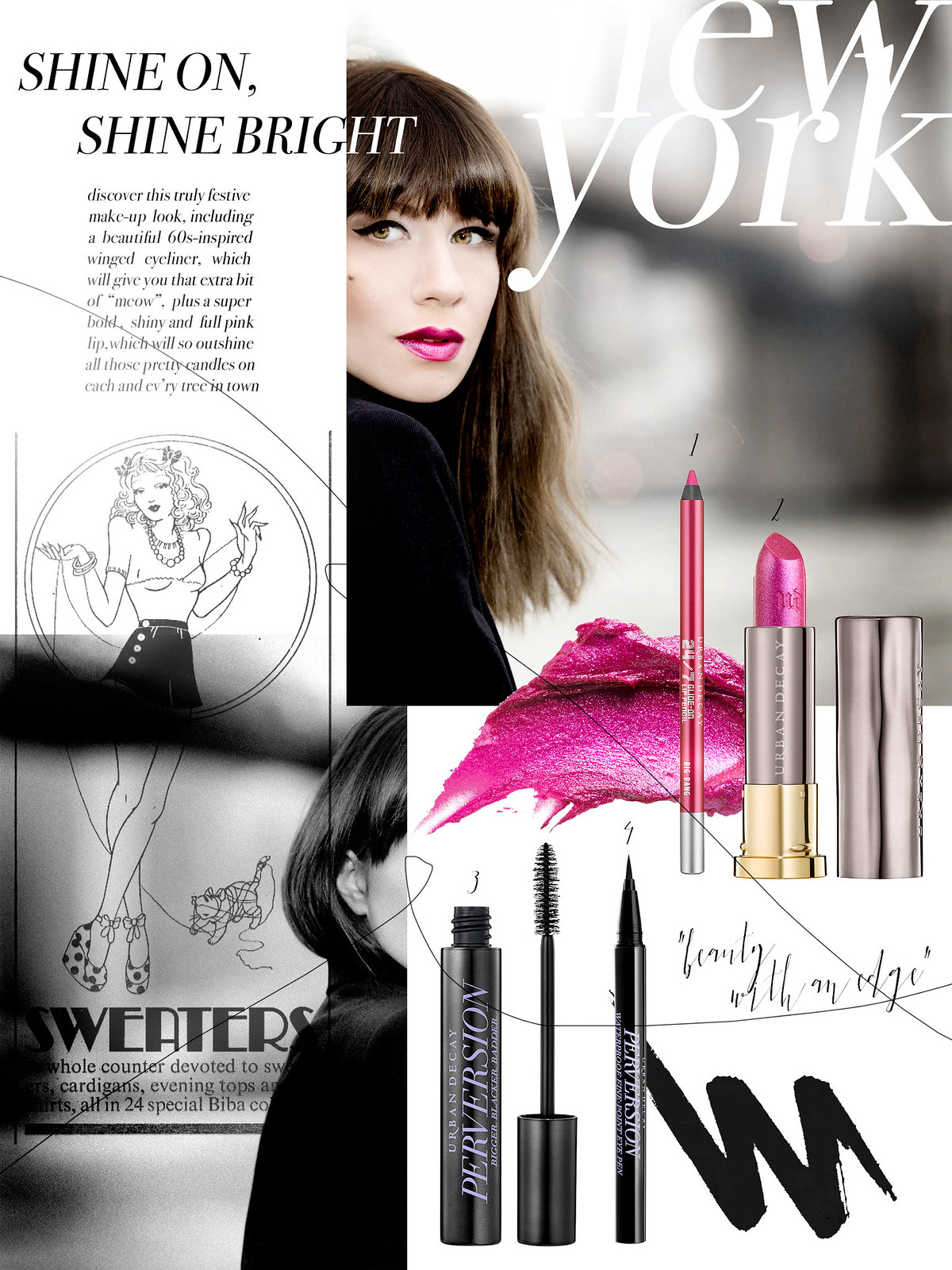 urban decay new york city brooklin bridge beauty with an edge magazine style trends collage beautyblogger lipstick christmas festive makeup styling pink brown metallic cats & dogs beautyblog ricarda schernus bangs brunette berlin fashionblogger 3