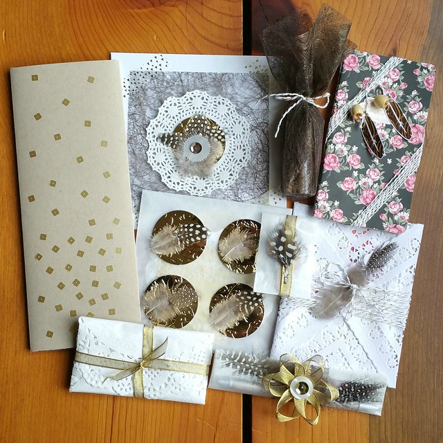 Goody Goody Gift Swap 2016 - Package Sent | shirley shirley bo birley Blog | holiday gift swap, paper goods, stationery, pretty gift wrapping, feather, gold, floral, doily, cactus, Arizona, local