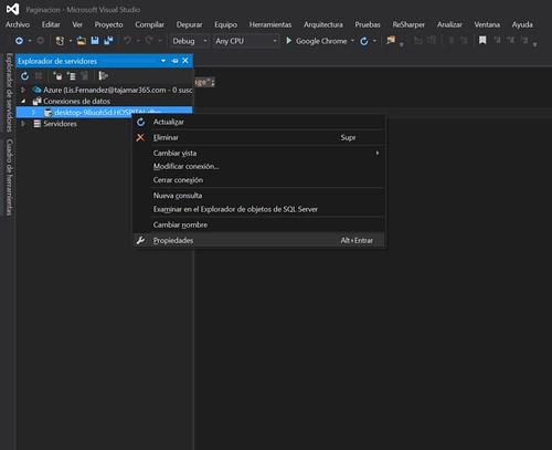 3.Paginación con ASP.NET en Visual Studio propiedades de la bbdd