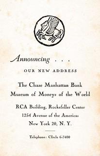 Chase Manhattan pamphlet new address