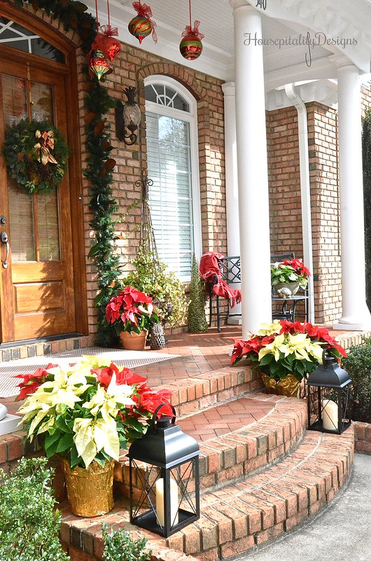Christmas-Porch-Poinsettias-Magnolias-Housepitality Designs