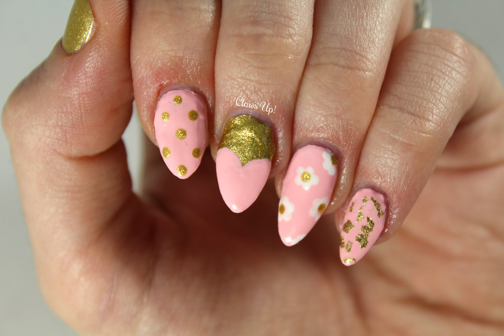 rose and gold nail art