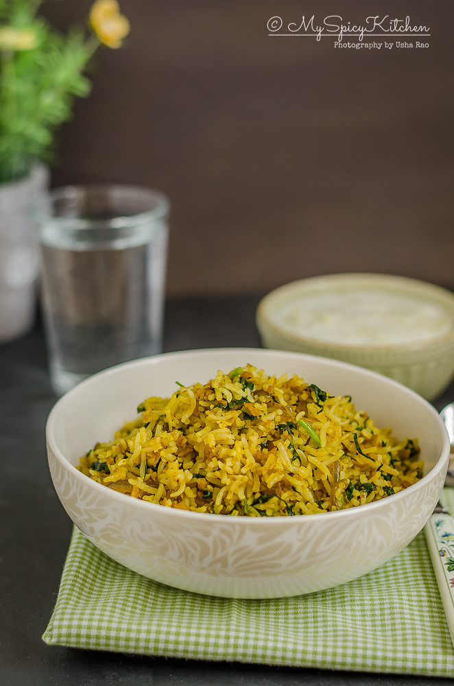 Soya Granules Spinach Fried Rice, Indian Fried Rice with soya granules and spinach, Blogging Marathon, Dinner Ideas, Rice Variety,