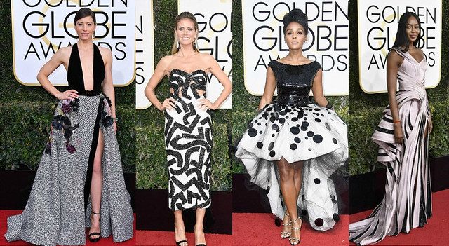 Who wore what at 74th Golden Globe Awards 2017 black and white gowns