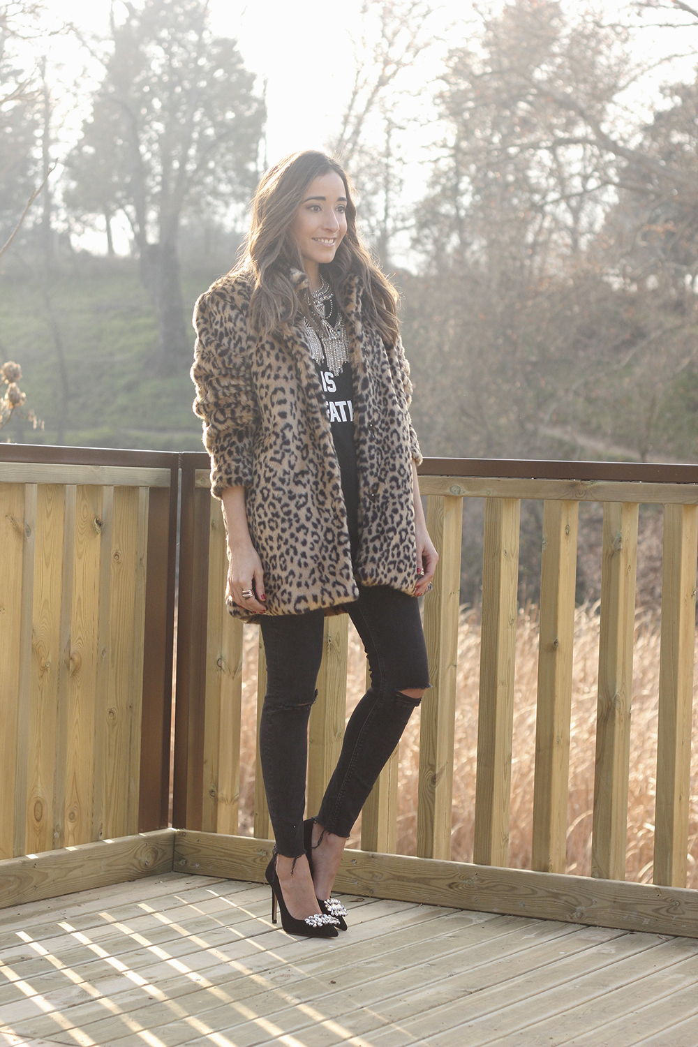leopard coat black jeans jewel heels outfit style new year fashion03